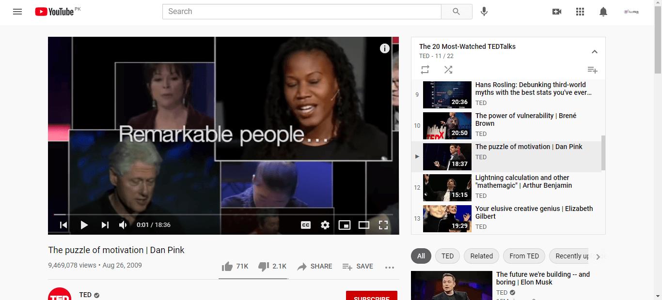 Youtube Playlist Ted Image